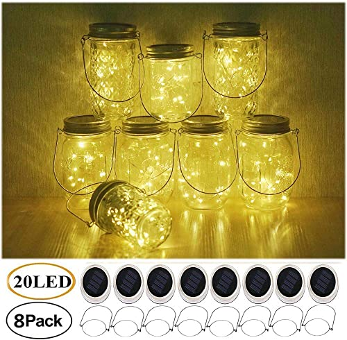 Mason Jar Solar Lights, 8 Pack Fairy Star Firefly String Lids Lights with 8 Hangers for Patio Yard Garden Party Wedding Christmas Decoration Jars Not Included 20 LED