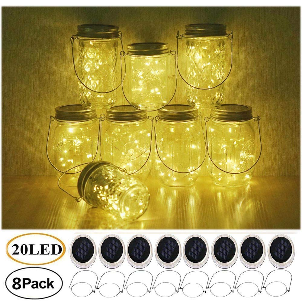 Decem Mason Jar Solar Lights, 8 Pack 20 LED Fairy Star Firefly String Lids Lights with 8 Hangers for Patio Yard Garden Party Wedding Christmas Decoration(Jars Not Included) (Warm White With Hangers)