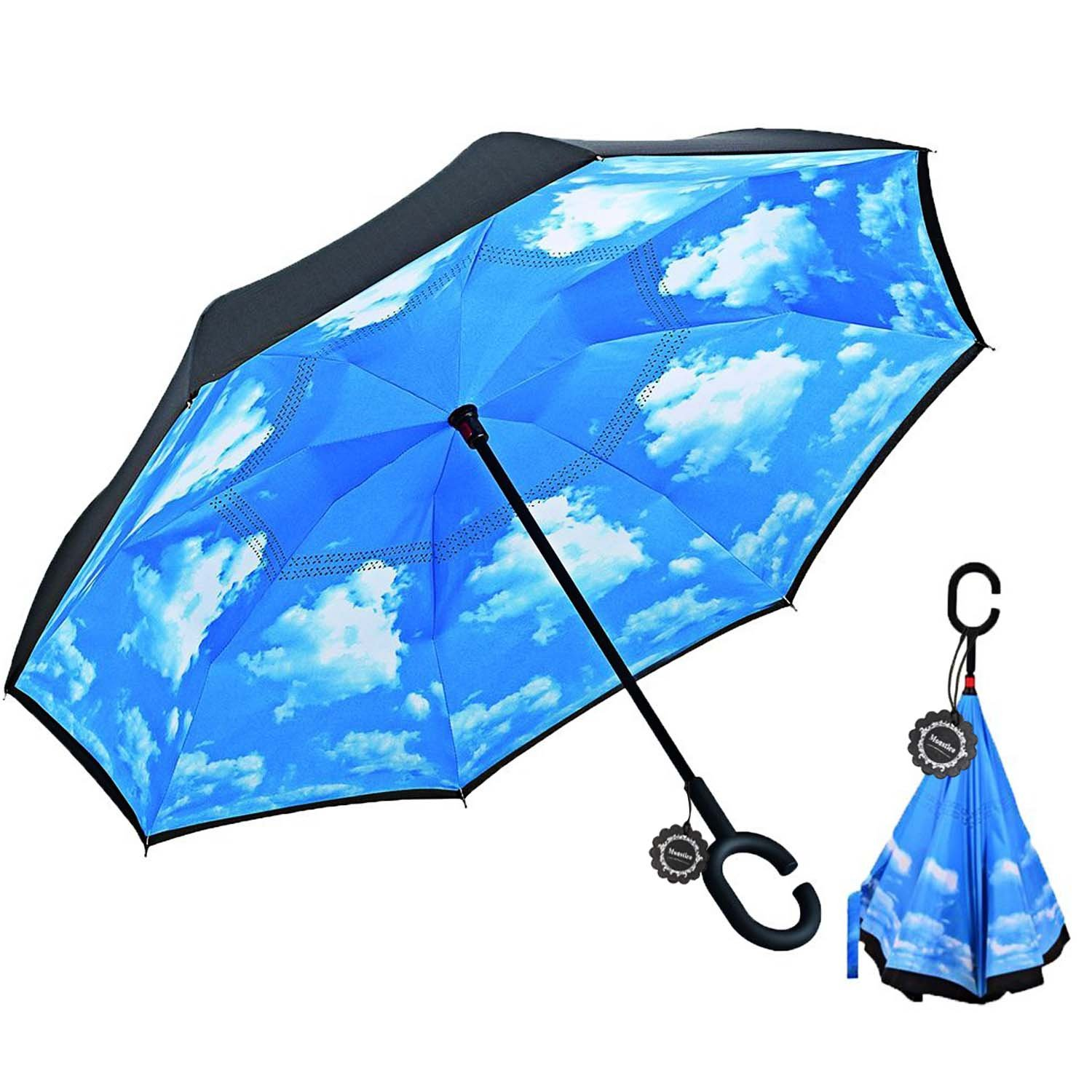 Monstleo Inverted Umbrella,Double Layer Reverse Umbrella for Car and Outdoor Use by, Windproof UV Protection Big Straight Umbrella With C-Shaped Handle and Carrying Bag