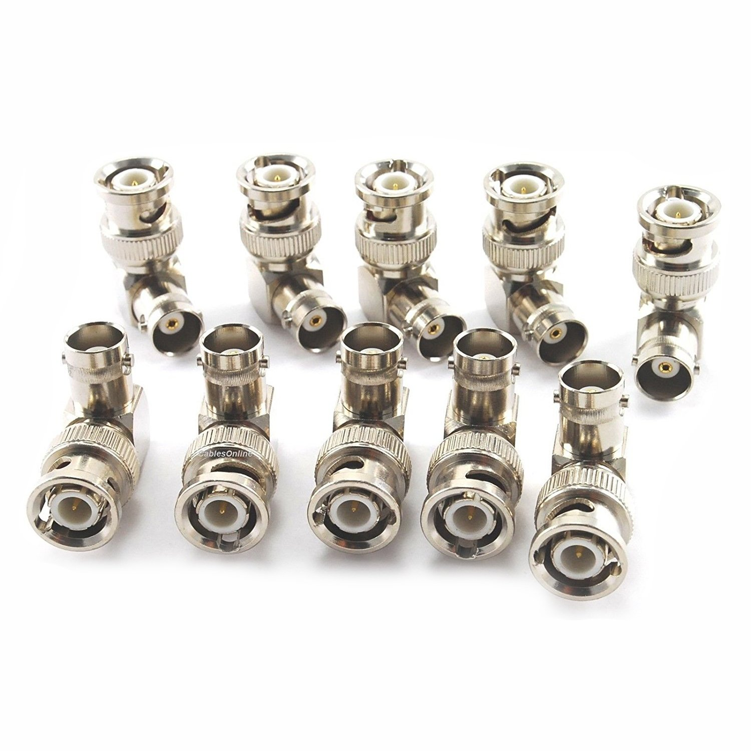 SODIAL 10-Pack 90-Degree BNC Right-Angle Male to BNC Female Video Adapter AV-A55-10