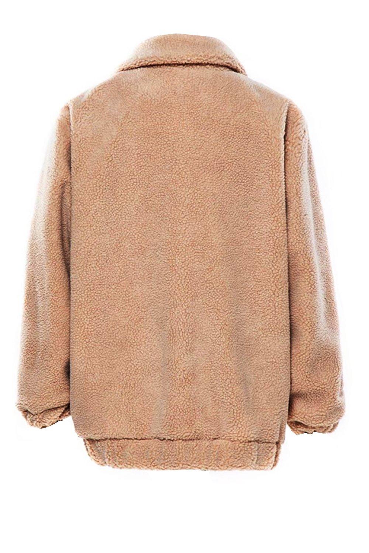 Kooosin Women's Warm Fluffy Long Sleeve Faux Shearling Zip Fastening Winter Coat Plus Size (DK070-M, Camel) by Kooosin (Image #4)