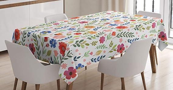 Imagen deABAKUHAUS Flor Mantele, Suave Color Floret, Resistente al Agua Lavable Colores No Destiñen Personalizado, 140 x 200 cm, Multicolor