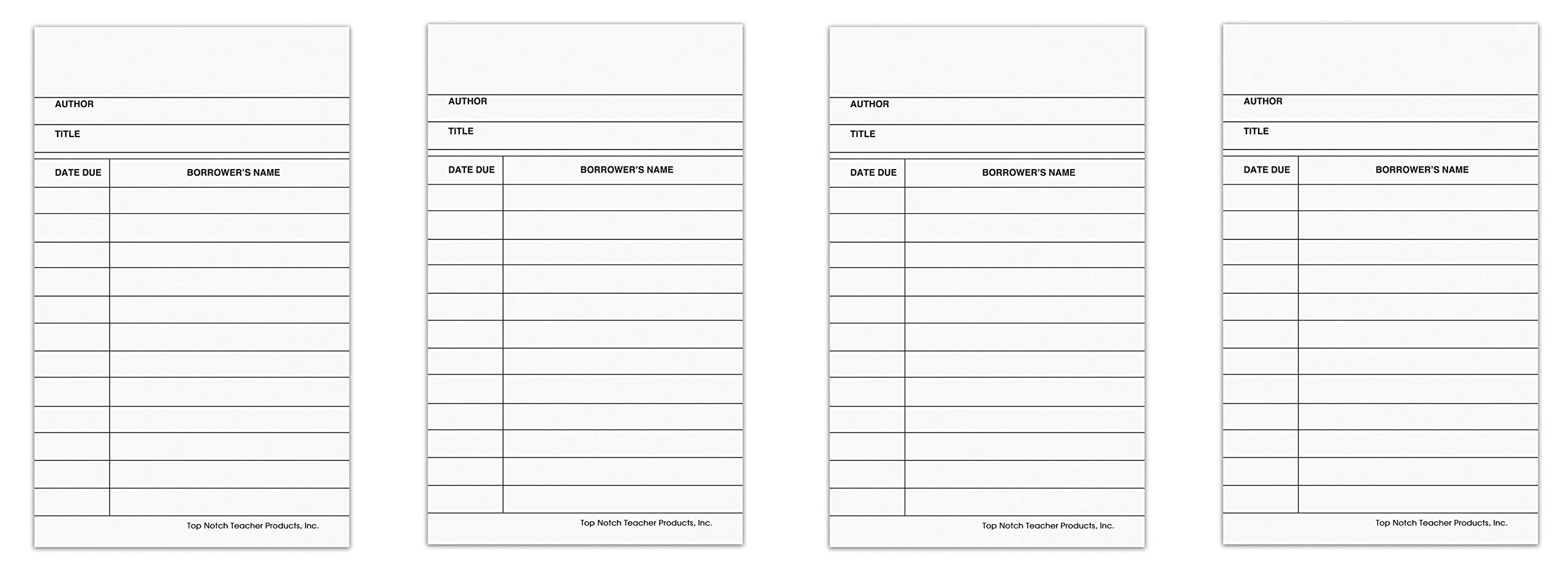 Top Notch Teacher Products TOP366 Library Cards, 0.5'' Height, 3.2'' Wide, 5'' Length, White (50 Cards per Package) (4-Pack)