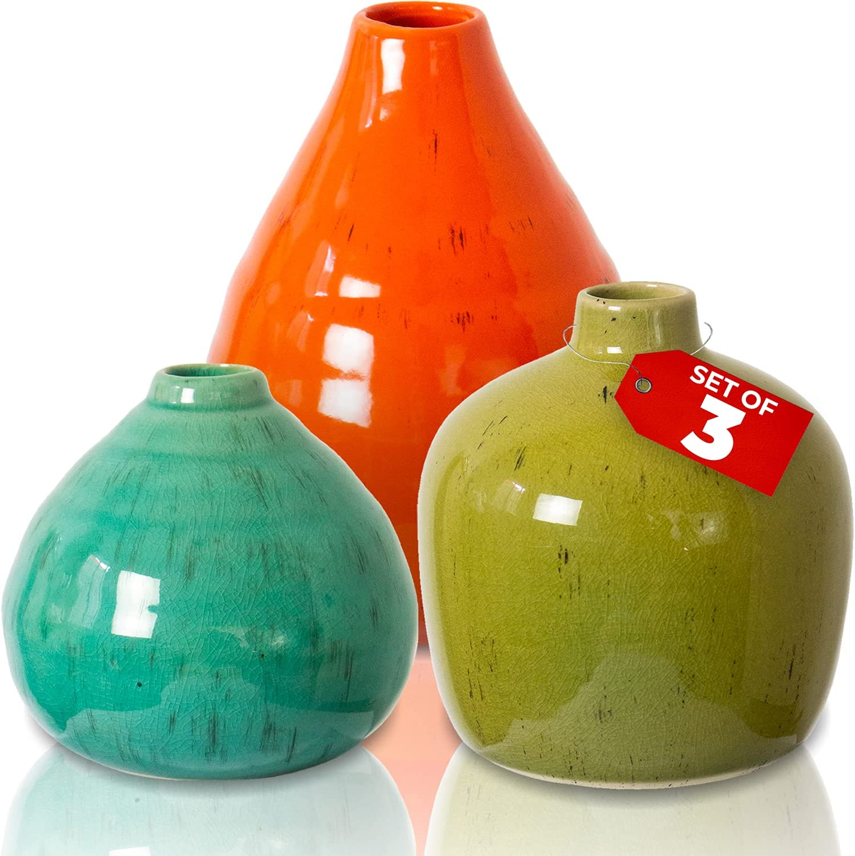 Rustic Home Decor Vases for Flowers - Modern Farmhouse Decor Ceramic Vase, Small Vases for Decor, Boho Home Decor - Decorative Vase for Farmhouse Decor Living Room, Fireplace Decor Farmhouse Vases