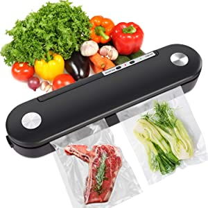 YISUN Vacuum Sealer Machine 2 in 1 Automatic Food Sealer Seal for Dry & Moist Food Storage with Led Indicator Lights Easy to Clean