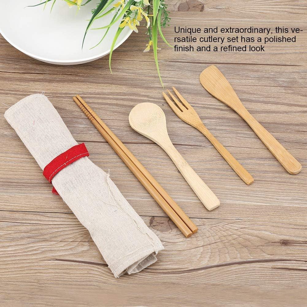 TOPINCN Juego de Cubiertos de Bamb/ú Palillos Port/átiles de Estilo Japon/és Cuchillo Tenedor Cuchara Juego de 4 Piezas Cubiertos Reutilizables Ecol/ógicos con Estuche