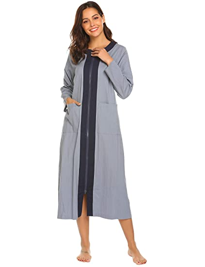 2eb576aa07 Image Unavailable. Image not available for. Color  Ekouaer Women s Long  Robe Zipper- ...