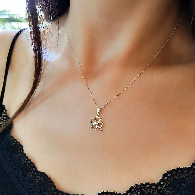 be26d02b7c61 Collar de mujer de 14 quilates oro amarillo 585 con colgante de trébol con  una bonita circonita en el centro