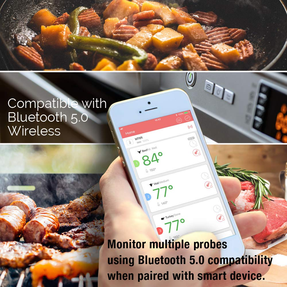 BBQ and Oven Intelitopia Meat Thermometer for Grilling,Smart Wireless Bluetooth Digital Cooking Grill Meat Thermometer Instant Read with Six Upgraded Stainless Steel Probes for Grilling Smoker