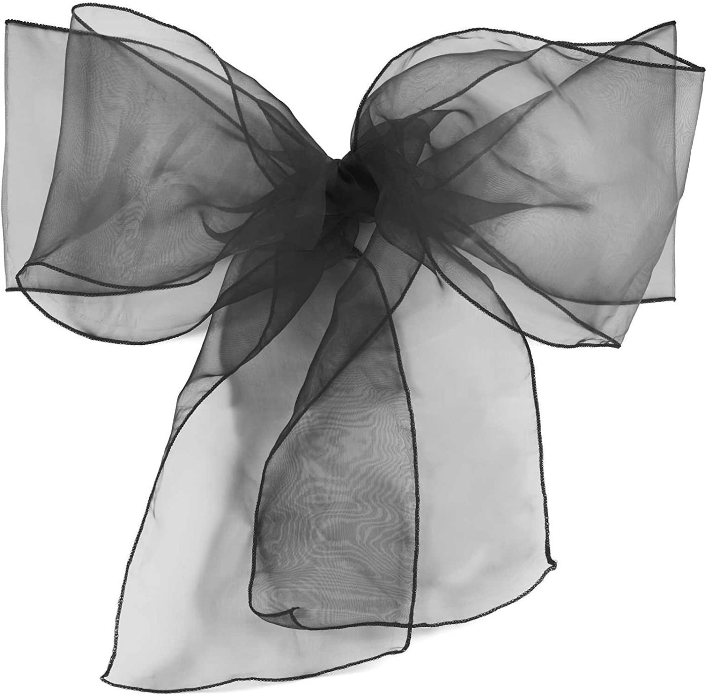 Elina Home Pack of 50 Organza Net Chair Cover Bow Sash Wedding Banquet Decor Coral (50, Black)