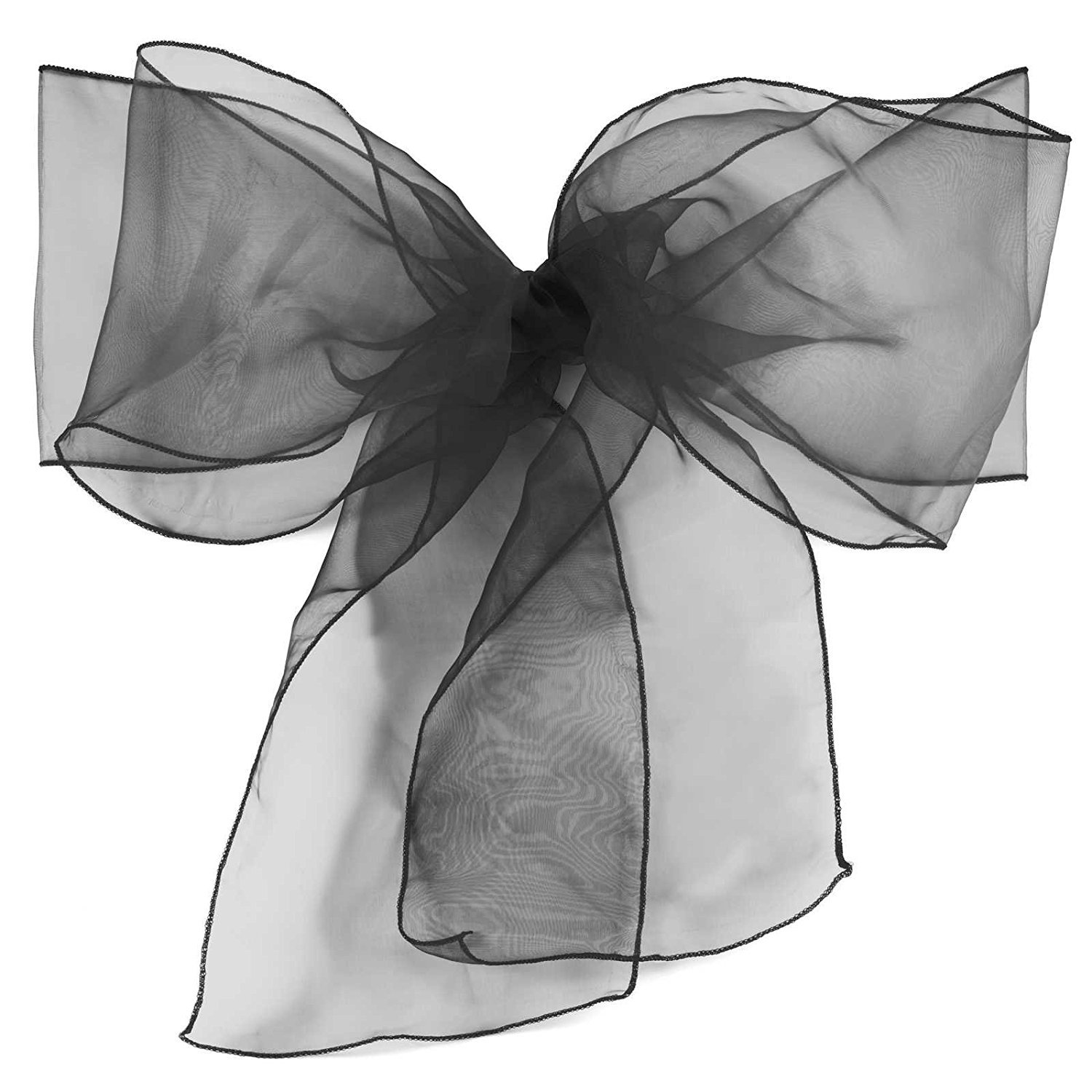 ELINA HOME PACK OF 100 Organza Net Chair Cover Bow Sash Wedding Banquet Decor coral (100, BLACK)