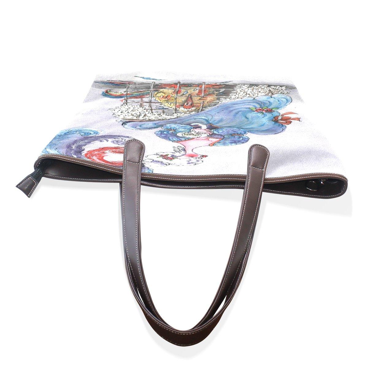Ye Store Art Of Coloured Drawing Or Pattern Lady PU Leather Handbag Tote Bag Shoulder Bag Shopping Bag