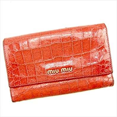 f7ba040da4bd (ミュウミュウ) Miu Miu 三つ折り財布 レッド クロコダイル型押し レディース 中古 T997