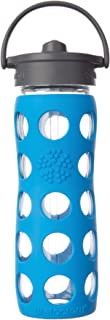 product image for Lifefactory 16-Ounce BPA-Free Glass Water Bottle with Straw Cap and Silicone Sleeve Ocean