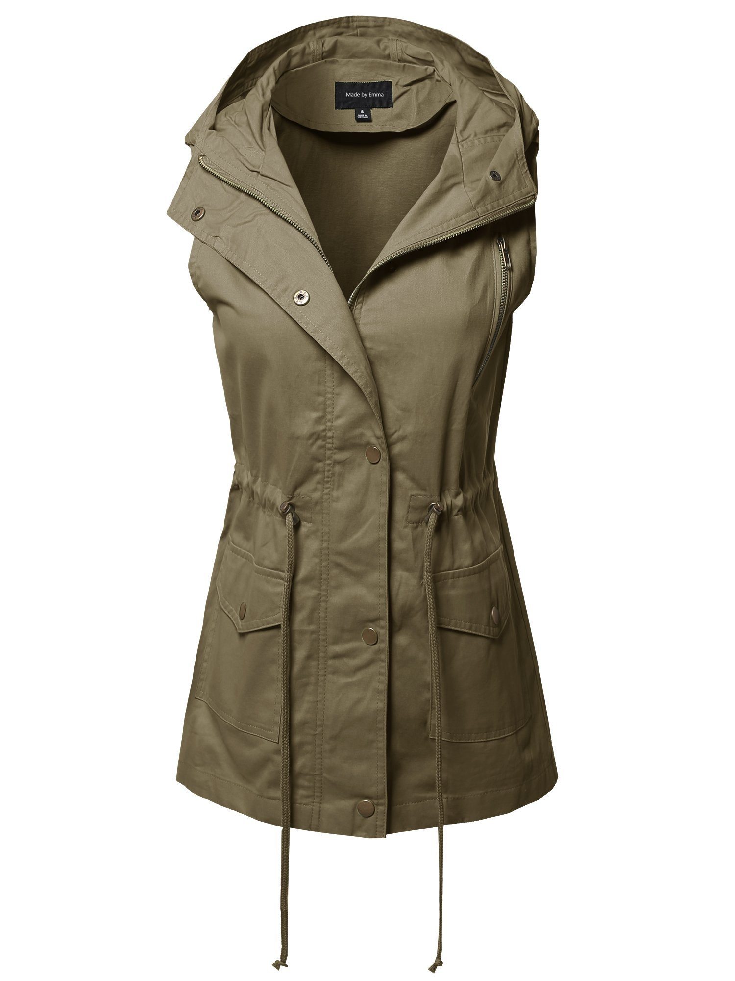 Made by Emma CasualZipper with Snap Button Closure Military Drawstring Hoodie Vest Olive M