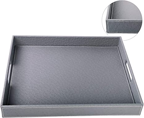 Breakfast Coffee Tray VIVE DESIGNS 19x14-Inch Decorative Leather Rectangular Tray Luxury White Serving Tray Butler Serving Tray