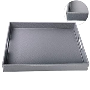 HofferRuffer Ostrich PU Leather Rectangular Serving Tray, Coffee Tray for All Occassion's, Grey, 17.7 x 13.8 x 2 inches