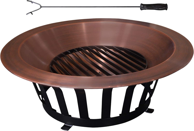 Titan 40 Solid 100 Copper Fire Pit Bowl Wood Burning Patio Deck Grill Amazon Ca Patio Lawn Garden