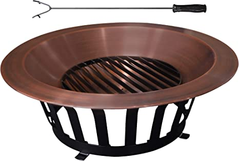 Amazon Com Titan Great Outdoors Copper Outdoor Fire Pit 40 Solid Steel Base Fire Iron Tool Garden Outdoor