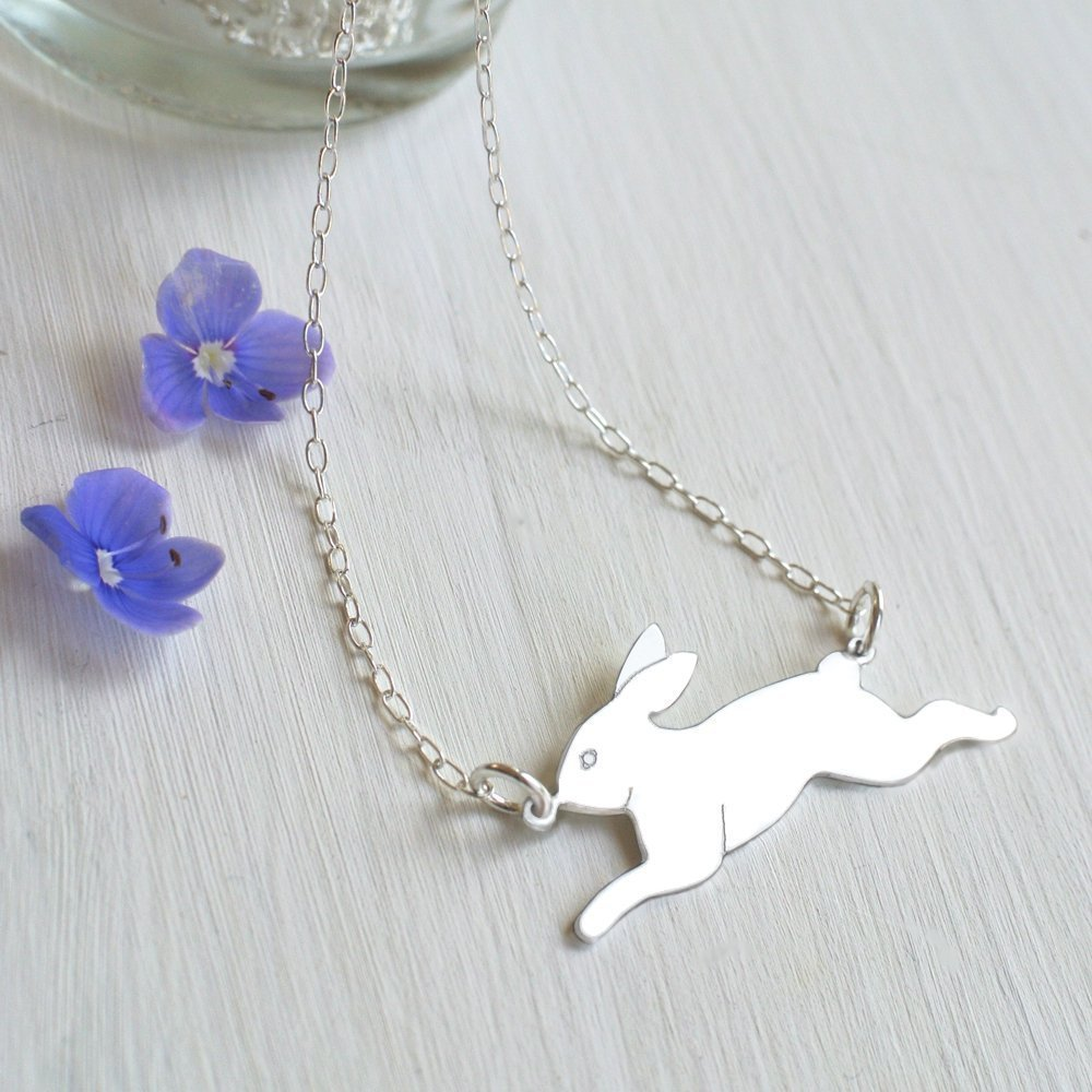 Personalised Sterling Silver Running Bunny Rabbit Necklace