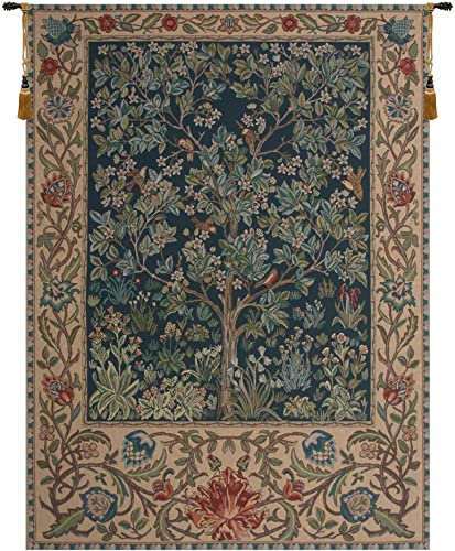 Charlotte Home Furnishings 6842-9455 Tree Of Life44 William Morris Tapestry Cushion Wall Hanging – Blue44 Green44 H 24 x W 18