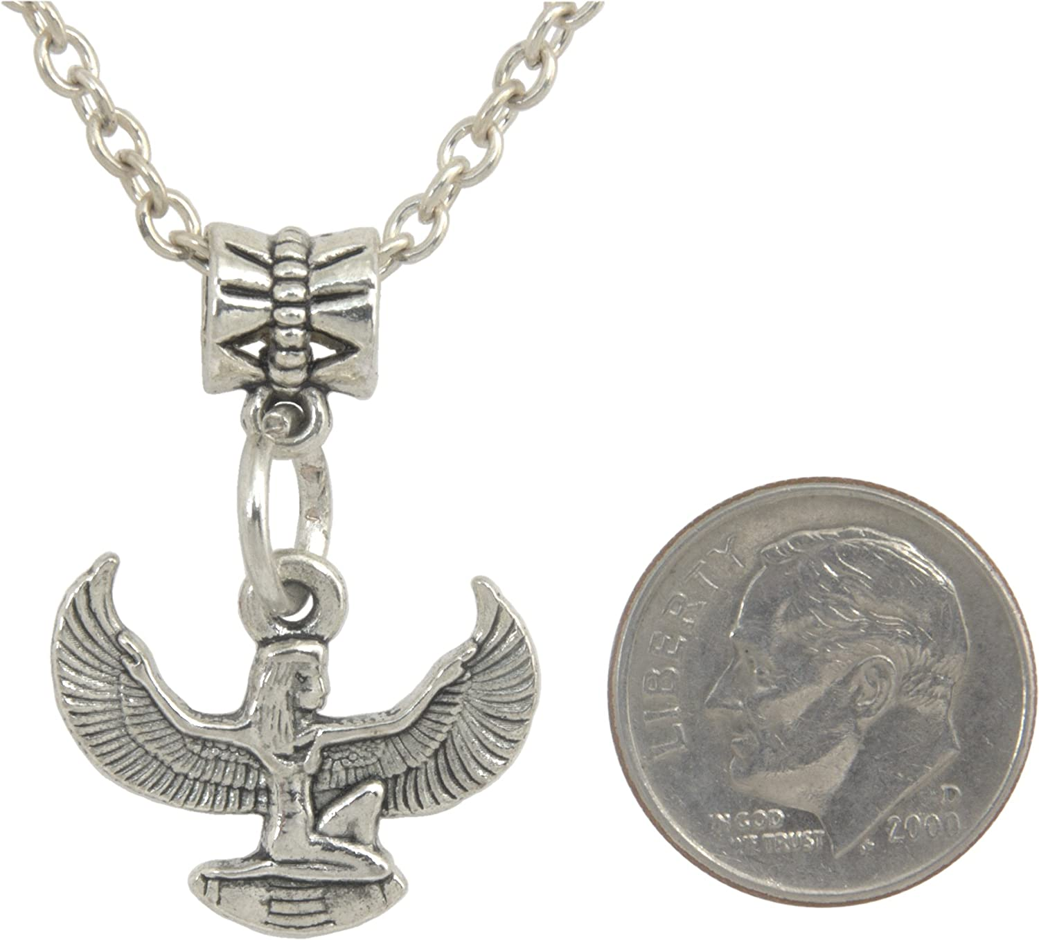 FREE CHAIN FREE GIFT BAG Pendant Unisex Egyptian Isis Silver Colored Pendant