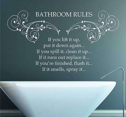 Bathroom Rules Vinyl Wall Art Sticker Mural Decal Home Wall Decor Poem Quote Bathroom Decor Amazon Co Uk Handmade