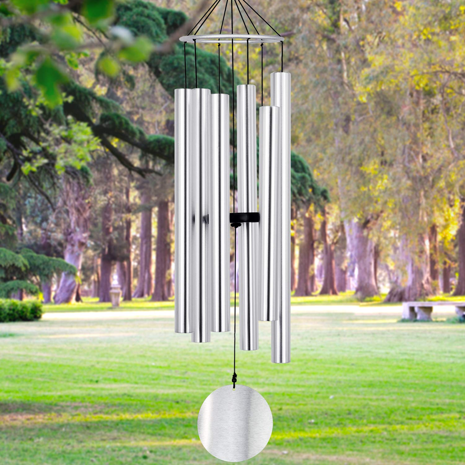 Wind Chimes Outdoor Large Deep Tone, 45'' Amazing Grace Wind-Chimes Memorial with 6 Metal Tuned Tubes, Elegant Chime Soothing Rich Tone for Mom, Decent Gift for Housewarming and Christmas (Silver)