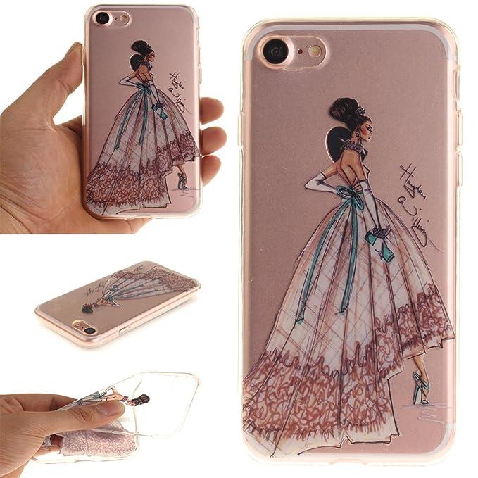 27 opinioni per Cover iPhone 7 Wanxida Custodia in Silicone TPU Cover Trasparente Chiaro Soft