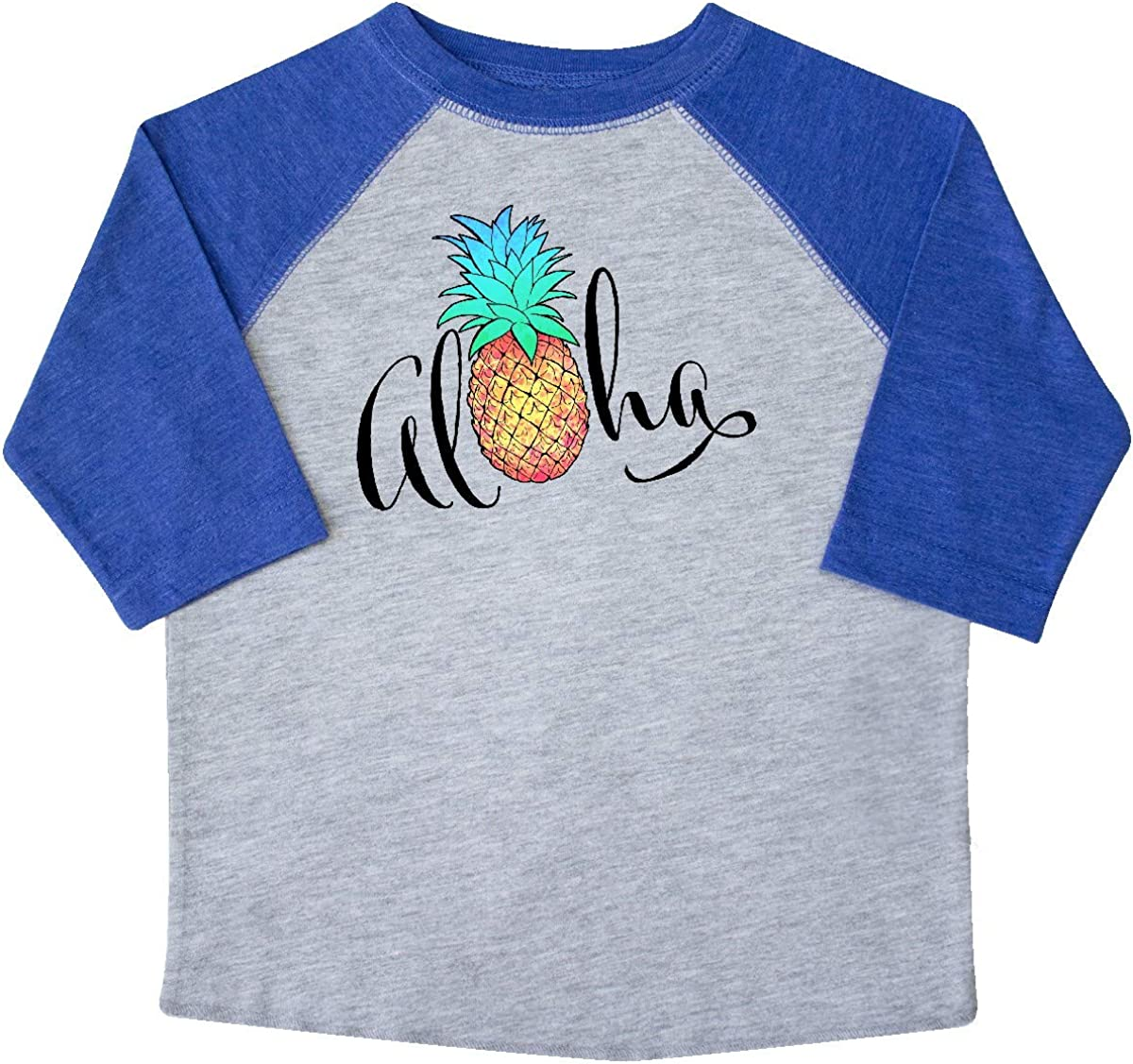 in Cursive with Pineapple Rainbow Colors Toddler T-Shirt inktastic Aloha