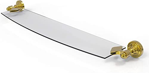 Allied Brass DT-33 24 Dottingham Collection 24 Inch Glass Shelf, Polished Brass