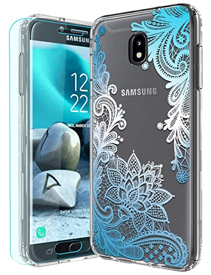 low priced c544e f4069 Galaxy J7 2018 Case,Galaxy J7 Aero/J7 Top/J7 Aura/J7 Crown with HD Screen  Protector Huness TPU Grip Bumper and Clear Flower Transparent PC Backplate  ...