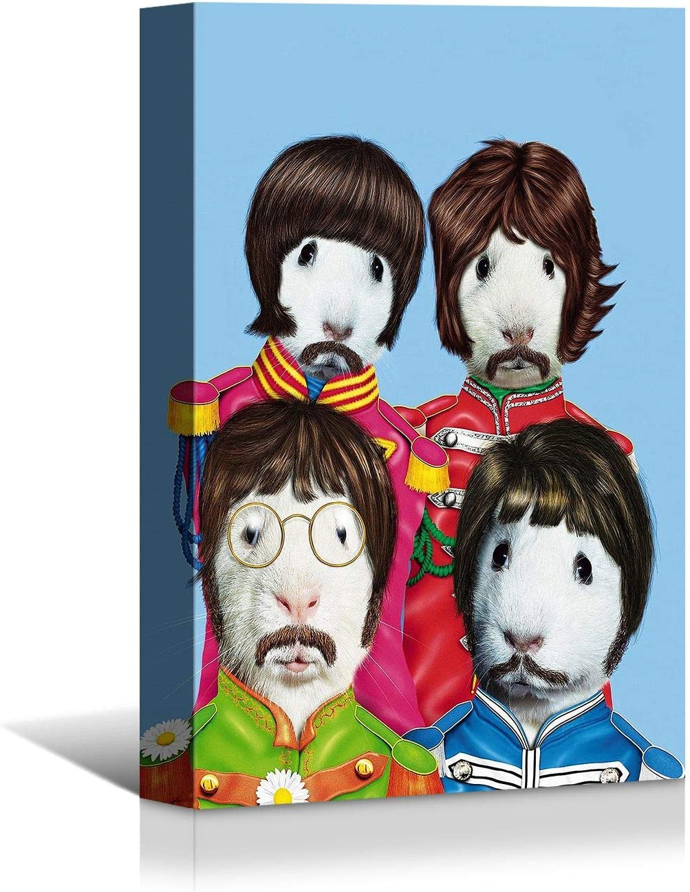 Looife Animal Canvas Wall Art, 16x24 Inch Funny Rabbit The Beatles Famous Idol Star Portrait Picture Prints Wall Decor, Modern Art Deco for Home & Nursery Decoration, Ready to Hang