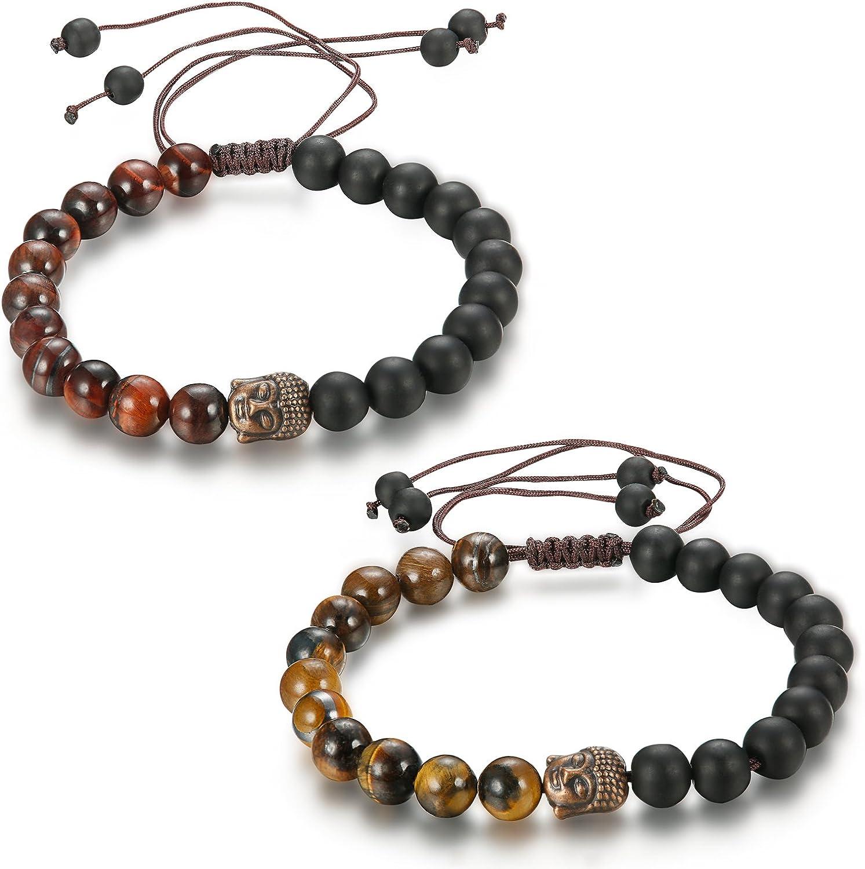sailimue 2 Pcs Bracelets Homme Femme Bouddhiste Perle Bracelet Couple Unisexe Pierre Oeil de Tigre 8mm 10mm
