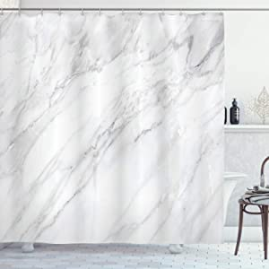 Ambesonne Marble Shower Curtain, Stained Marbled Background Image Abstract Textures Monochromatic Design Print, Cloth Fabric Bathroom Decor Set with Hooks, 70
