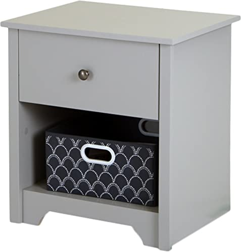 South Shore Vito 1-Drawer Nightstand-Soft Gray