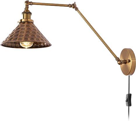 Wandleuchte Vintage Innen Wandlampe mit Schalter und 1.8m Netzkabel Verstellbar Wandleuchten aus Metall Schwarz Retro Industrial Stil Landhaus-Ambiente E27 B/üro Arbeite Bettleuchte Leselampe,1Pack