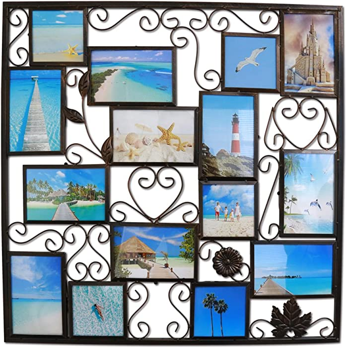 Abbie Home Picture Frame 11 Openings Plaque College Frame for Home Wall Decoration, PVC Picture Frame Selfie Gallery Collage Frame Wall Hanging Mounting Design, Hollowed Leaves and Filigree Detail (Dark Copper)