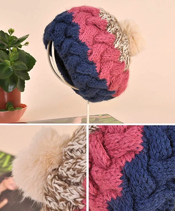 Glamour Girlz Bonnet super doux pour b/éb/é fille gar/çon chaud en tricot c/ôtel/é double pompon 0/–12 mois, rose