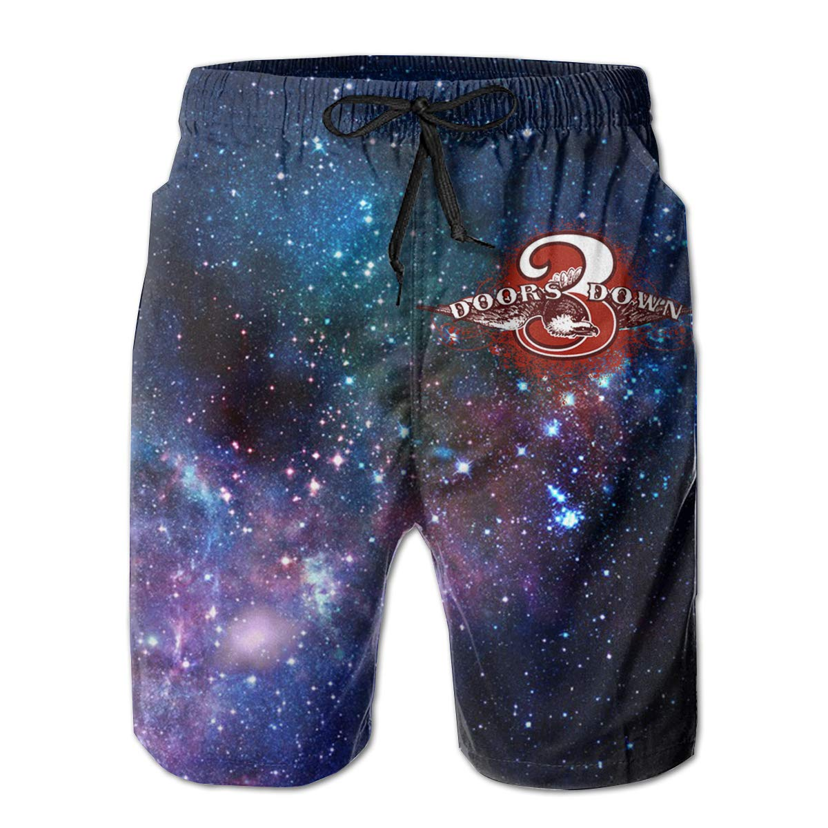 Mens 3 Doors Down Music Band Casual Beach Board Shorts Quick-Drying Drawstring Swim Trunks