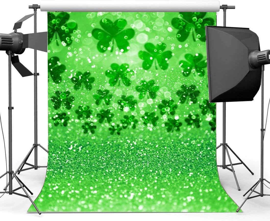 Patricks Day Backdrop 6X9FT Vinyl Lucky Irish Shamrock Backdrops Bokeh Glitter Sequins Green Four Leaf Clover Wallpaper Photography Background for Party Photo Studio Props GoEoo Happy St