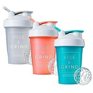 Rise & Grind batidora – botella de 828 ml, taza para batidos, motivación sobre