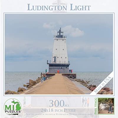 "Ludington Light - 300 Piece MI Puzzles Jigsaw Puzzle - 24"" x 18"" Interlocking - Made in USA: Toys & Games"
