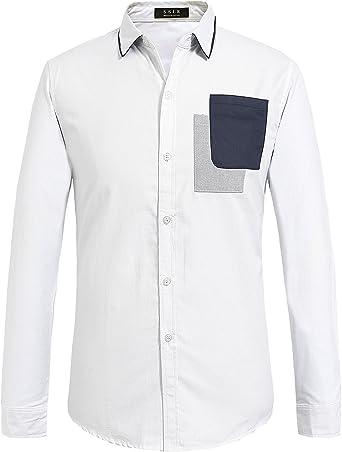 SSLR Camisa Regular Fit para Hombre de Manga Larga de Algodón Semi Formal: Amazon.es: Ropa y accesorios