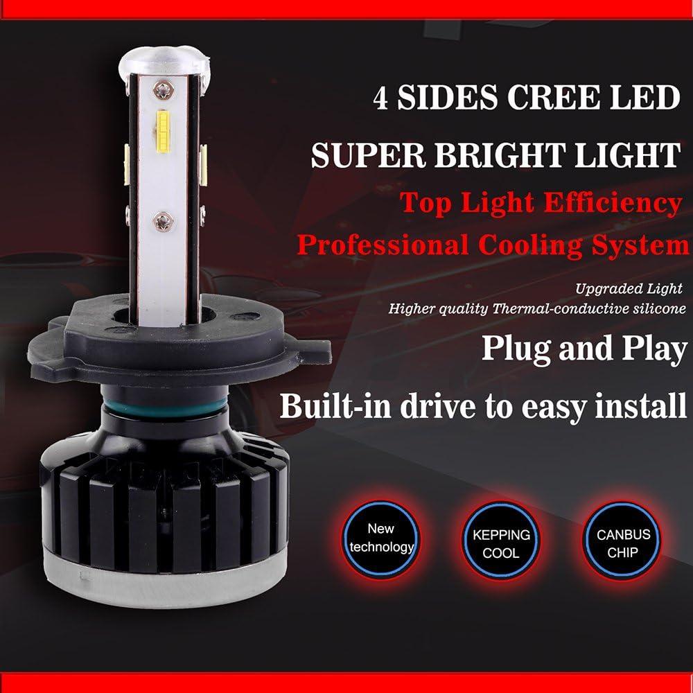 Brighter Cree White Headlamp Conversion Kit Hi//Lo Beam 1 Year Warranty 2pcs 8000Lm 80W 6000K Focus Light cciyu H13 Led Headlight Bulb