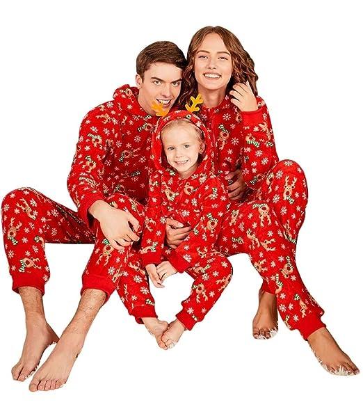 Pijamas Navidad Familiar Algodon Mono Pijamas Parejas e Hijos Trajes Navideños Pelele con Cremallera e Capucha Conjunto Mama Papá y Bebe Ropa de Dormir ...