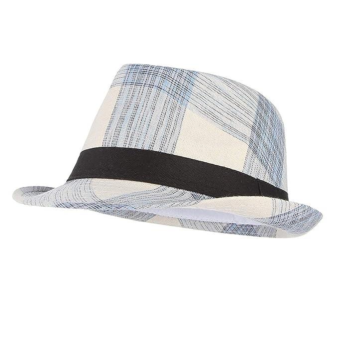 ffa52273 Cotton Men Wide Brim Summer Hat Plaid Fedoras Derby Bowler Hat Male Jazz  Gangster Caps Panama Church Hats Blue at Amazon Men's Clothing store: