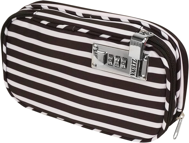 Vaultz VZ03816 Locking Diabetic/Medicine Soft Organizer Case, Multiple Zipper Pockets, Combination Lock, 5.7 x 2.2 x 9.25 Inches, Black/White Stripe