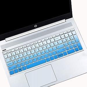 "MUBUY Keyboard Cover for 15.6"" HP ProBook 450(G5/G6/G7) 455(G5/G6/G7) 650(G4/G5)  17.3"" HP ProBook 470 G5 (Not Fit ProBook 450/455 G4 G3 G2 G1, ProBook 650 G3 G2 G1)- Gradual Blue"