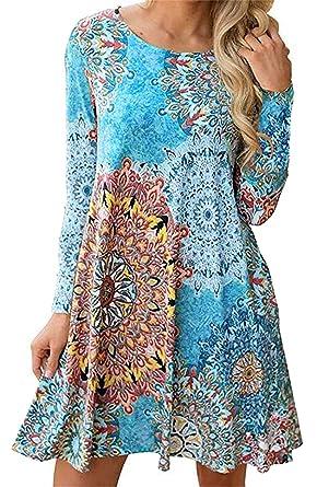 d5b1bc38e6a Andaa Women's Fall Winter Floral Printed Swing Tunic Shirt Dress Pockets  Long Tunic Tops Leggings at Amazon Women's Clothing store: